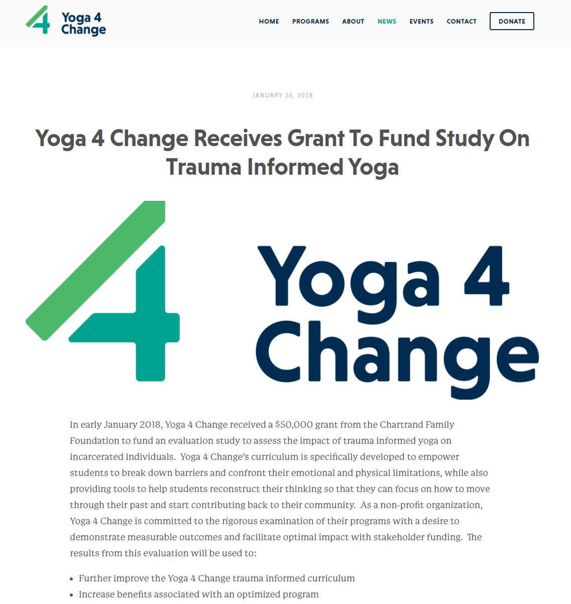 Yoga 4 Change Receives Grant
